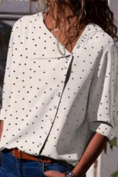 Summer New Stylish Polka Dot Print Irregular Button Down Long Sleeve Shirt Blouse