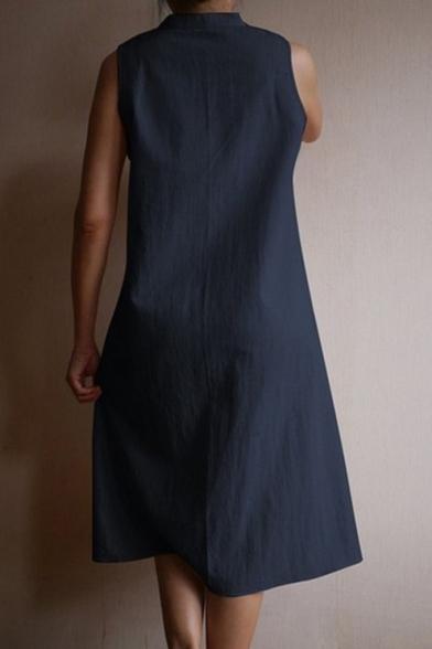 Summer Stylish Button Stand Collar Sleeveless Linen Midi Swing Tank Dress