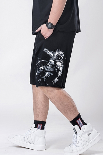 Summer Trendy Figure Astronaut Printed Drawstring Waist Black Casual Loose Sport Sweat Shorts