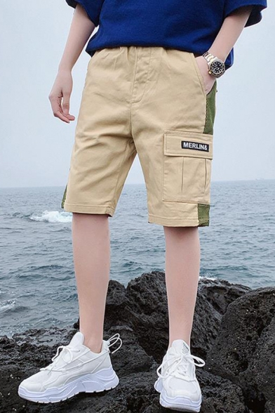 Summer Trendy Letter Patchwork Flap Pocket Side Contrast Patched Casual Cargo Shorts for Men