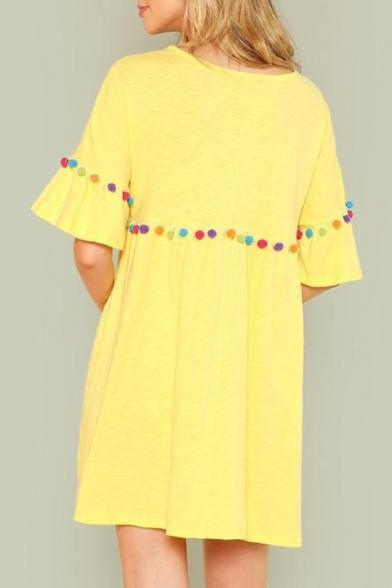 Summer Womens Fashion Pompom Embellished Round Neck Flared Sleeve Yellow Mini Smock Dress