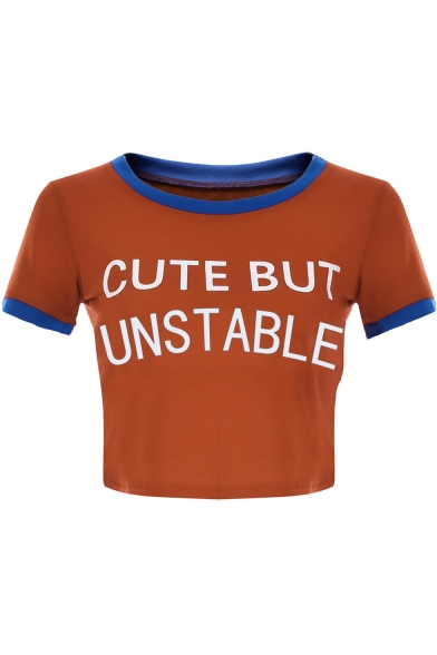 Summer Womens Hot Fashion Letter CUTE BUT UNSTABLE Print Contrast Trim Fitted Crop Tee