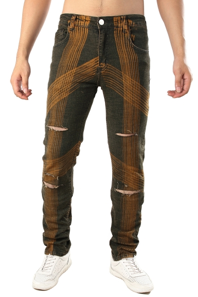 Unique Printed Vintage Washed Knee Cut Brown Ripped Jeans for Men