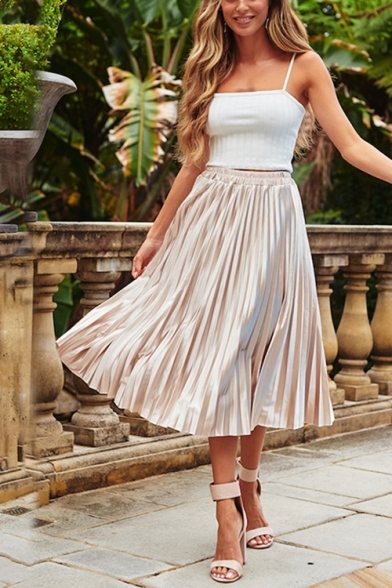 Womens Apricot Simple Plain Elastic Waist Midi A-Line Chiffon Pleated Skirt LM543955 фото