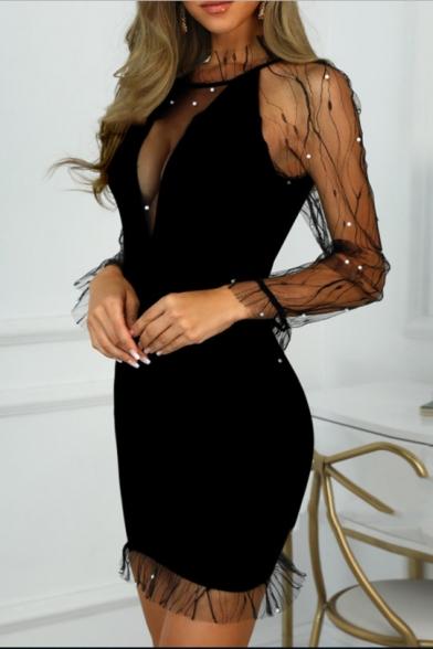 Womens Chic Beading Embellished Sexy Sheer Mesh Panel Long Sleeve Mini Black Bodycon Dress