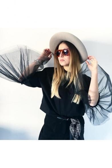 Womens Designer Cool Mesh Panel Bell Sleeve Pullover Casual Sweatshirt