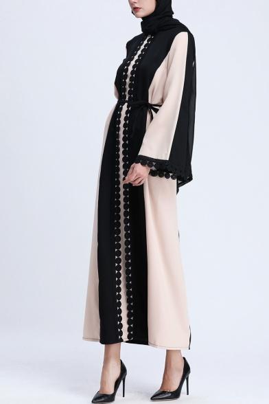 Womens Fashion Long Sleeve Pompom Trim Tie Waist Patch Maxi Shift Muslim Robe Dress