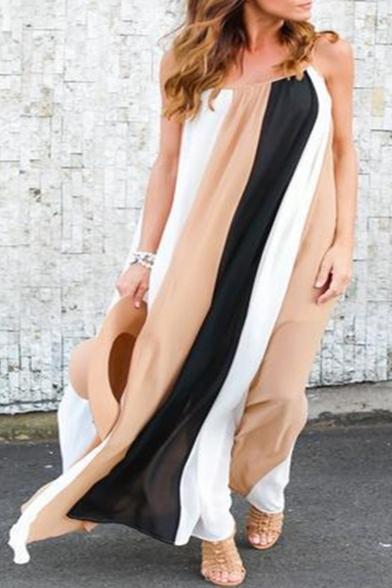 Womens Hot Fashion Chiffon Patch Casual Loose Maxi Straps Dress