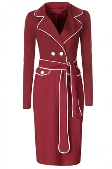 Womens Hot Fashion Claret Lapel Collar Long Sleeve Button Front Midi Blazer Dress