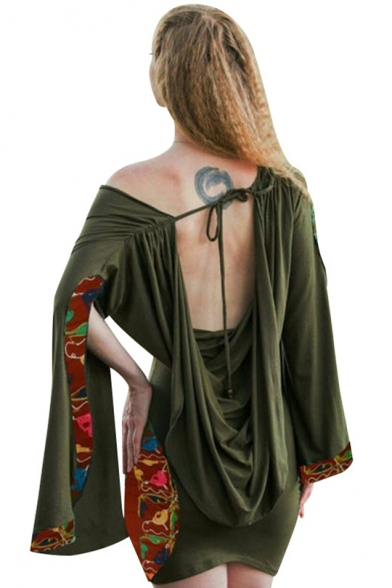 Womens Hot Popular Sexy Open Back Split Long Sleeve Green Mini Bodycon Dress