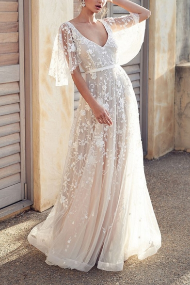 Womens Hot Sale Stylish White Ruffle Sleeve Plunge V Neck Floral Print Sweet Mesh Maxi Dress