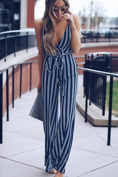 Baycheer / Womens Hot Stylish Striped Plunge V-Neck Tie Waist Sleeveless Wide Leg Skinny Jumpsuits