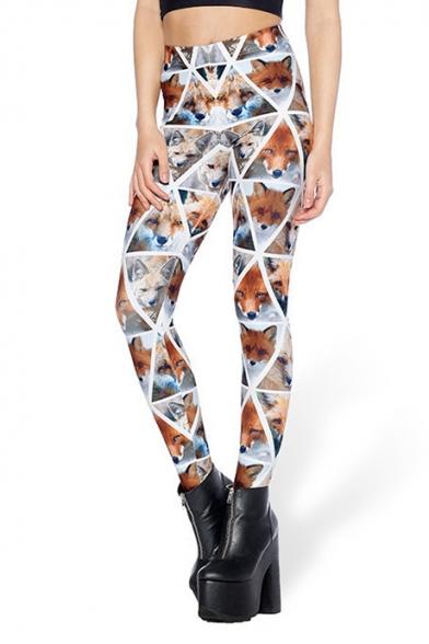 Womens Popular High Waist Fox Check Printed Skinny Legging Pants