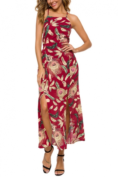 Womens Popular Vintage Red Floral Printed Sexy Strappy Cutout Back Split Side Maxi Cami Dress