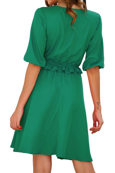 Womens Simple Plain Fashion Ruffled Hem V-Neck Short Sleeve Mini A-Line Dress