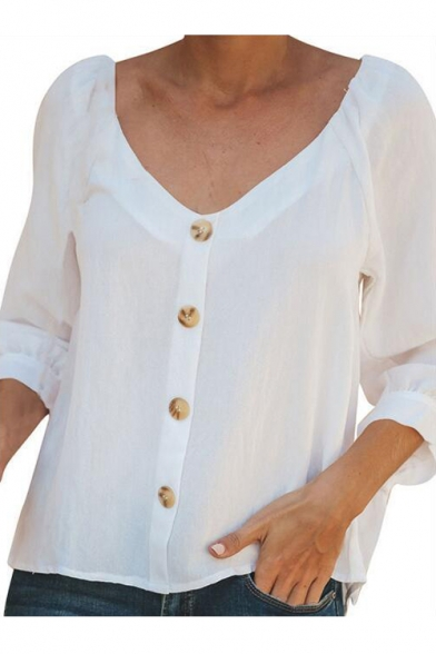 Womens Simple Plain V-Neck Button Down Bow-Tied Cuff White Shirt Blouse LM541439 фото