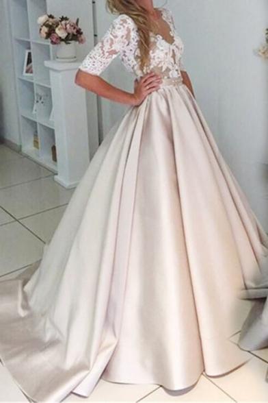 Womens Stylish Sexy Lace Trim Patch Tie Waist Backless Empire Waist Maxi Beige Flared Evening Dress