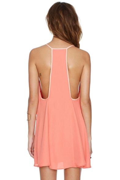 Womens Summer Casual Plain Sleeveless Mini Cami Dress