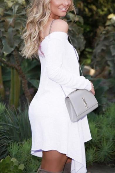 Womens Summer Sexy Off Shoulder Long Sleeve Plain White Asymmetric Dress