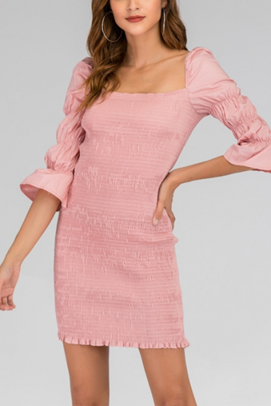 Womens Sweet Pink Simple Plain Square Neck Puff Sleeve Mini Fitted Dress