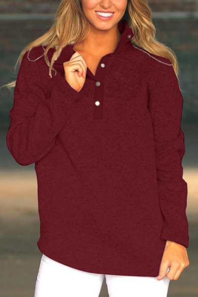 Womens Trendy Button Stand Collar Long Sleeve Simple Plain Loose Sweatshirt