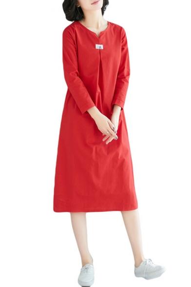 Womens Vintage Simple Solid Color Long Sleeve Midi Swing Dress