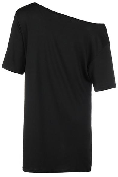 Cool Funny Cartoon Animal Print Oblique Shoulder Short Sleeve Loose Black T-Shirt Dress