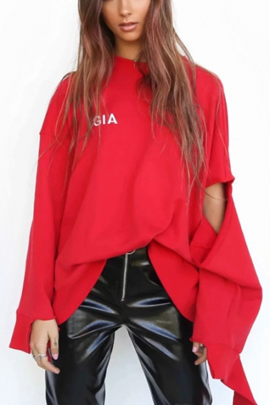 Cool Girls Simple Letter GIA Print Hollow Long Sleeve Red Oversized Asymmetrical Sweatshirt