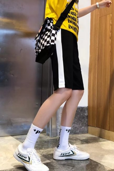 Fashion Colorblock Tape Side Emoji Embroidery Pattern Drawstring Waist Casual Sweat Shorts