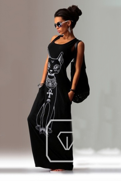 Fashion Cute Cartoon Cat Printed Round Neck Sleeveless Maxi Tank Dress