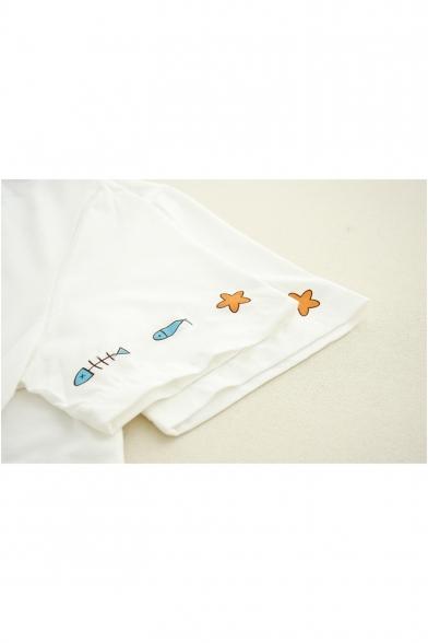 Girls Lovely Cartoon Cat Print Basic Round Neck Short Sleeve T-Shirt