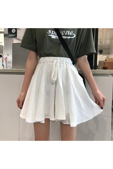 Girls Summer Fashion Plain Drawstring Waist High Rise Mini A-Line Skorts Skirt LM543813 фото