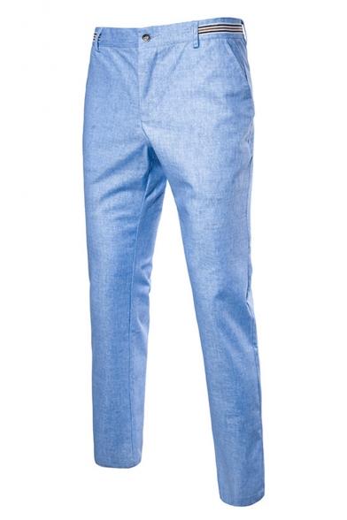 Guys New Fashion Contrast Stripe Waist Linen Tailored Suit Pants Dress Pants