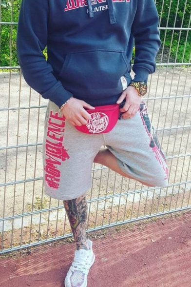 Men's Cool Fashion Letter Letter Printed Drawstring Waist Cotton Fitness Sweat Shorts