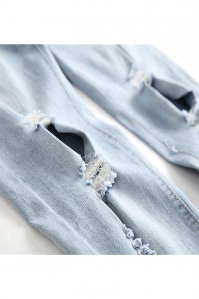 Men's Cool Fashion Simple Plain Knee Cut Light Blue Ripped Biker Jeans