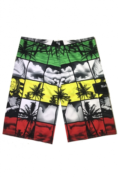 Men's Multi-colored Figure Plaid Printed Quick Dry Casual Relaxed Beach Shorts Swim Trunks