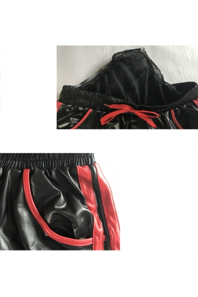 Men's New Fashion Contrast Stripe Side Letter Pattern Drawstring Waist Faux Leather Casual Sports Shorts