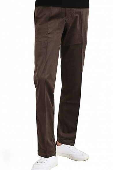 Men's New Fashion Simple Plain Corduroy Straight Dress Pants