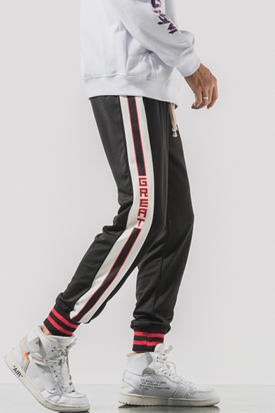 Men's New Stylish Contrast Stripe Letter GREAT Printed Drawstring Waist Loose Fit Casual Trendy Track Pants