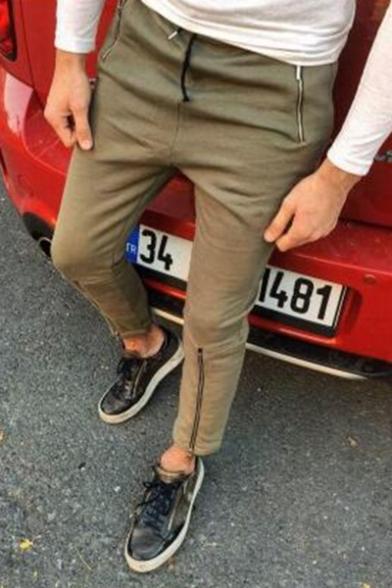 Men's Popular Fashion Simple Plain Zipper Pocket Zippered Vent Slim Cotton Pencil Pants