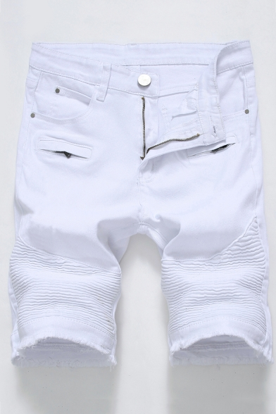 Men's Popular Fashion Solid Color Pleated Detail Zipper Embellished Casual Denim Shorts