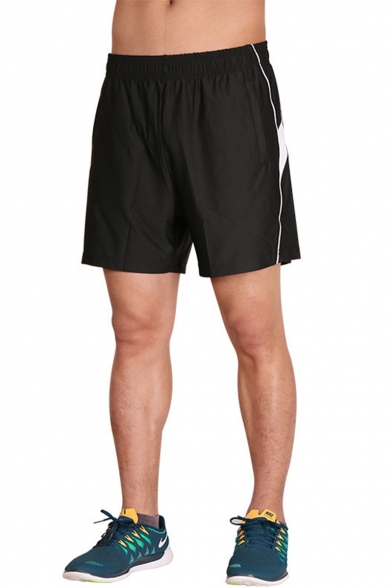 Men's Summer Fashion Colorblock Patched Elastic Waist Quick-drying Athletic Shorts