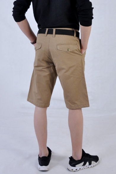 Men's Summer Fashion Simple Plain Rivet Embellished Casual Cotton Chino Shorts