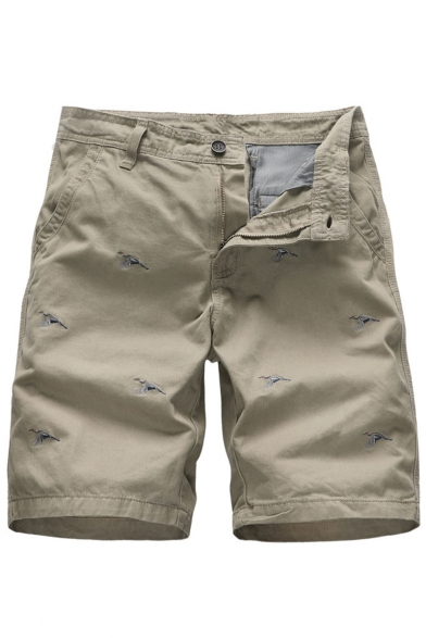 Men's Summer New Fashion Crane Embroidery Pattern Zip-fly Casual Cotton Chino Shorts
