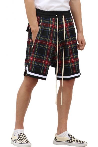 Men's Summer New Fashion Scottish style Retro Plaid Pattern Contrast Stripe Hem Drawstring Waist Zipped Pocket Casual Loose Active Shorts