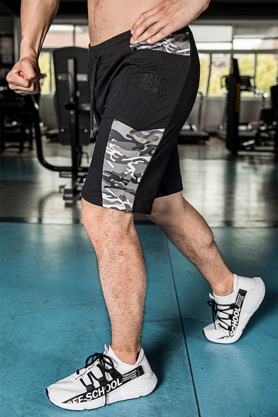 Men's Summer Stylish Camouflage Patched Logo Embroidery Pattern Drawstring Waist Sports Sweat Shorts