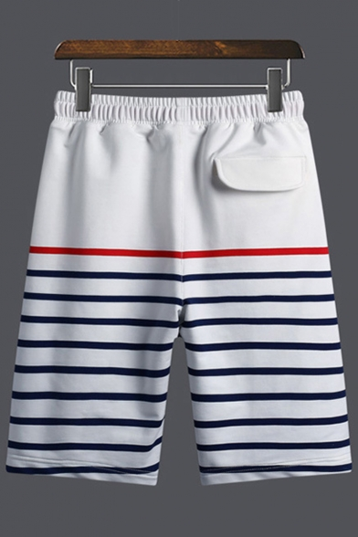 Men's Summer Stylish Colorblocked Stripes Pattern Drawstring Waist Relaxed Cotton Sweat Shorts