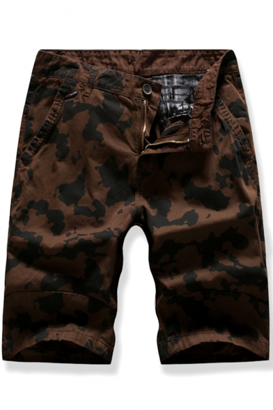 Men's Summer Trendy Cool Camouflage Printed Zipped Cargo Shorts