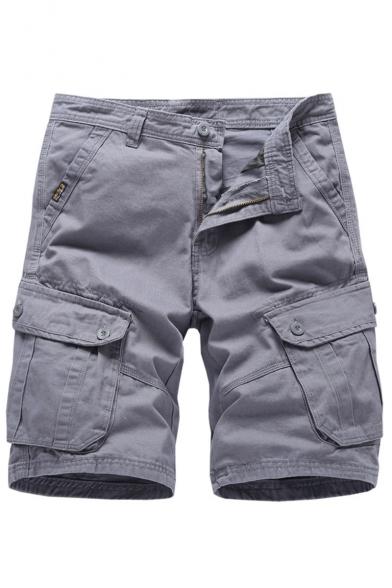 Men's Summer Trendy Simple Solid Color Multi-pocket Casual Cotton Cargo Shorts