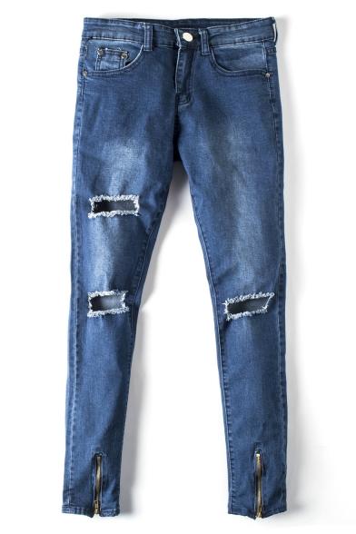 Men's Trendy Fashion Knee Cut Zip-Embellished Cuffs Blue Ripped Skinny Jeans